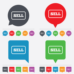 Sell sign icon. Contributor button.