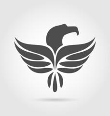 Heraldic eagle symbol isolated on white background