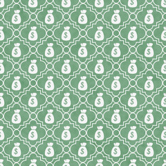 Green and White Money Bag Repeat Pattern Background