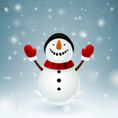 Smiley snowman with red mittens