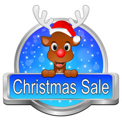 Christmas Sale Button mit Rentier