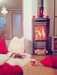 canvas print picture - gemütliches Zimmer mit Kaminofen-cosiness 04