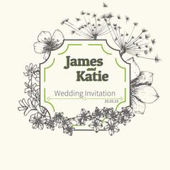 Vector wedding invitation card. flower illustration