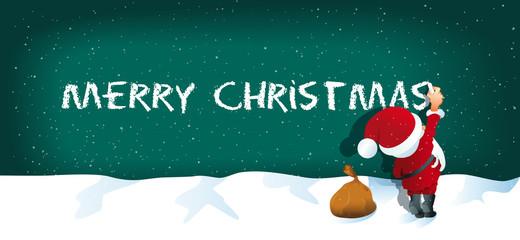 Weihnachtskarte Santa schreibt Merry Christmas