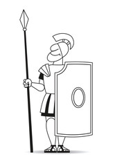Ancient pikeman with a pike and a shield