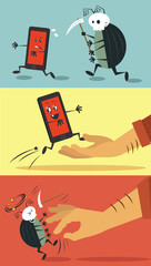 Vector flat illustrations of mobile devices bugs
