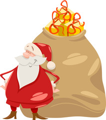 santa with gifts cartoon illustration