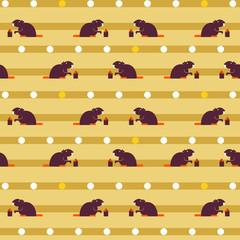 Seamless pattern of cute  beavers