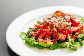 warm salad with noodle and bacon