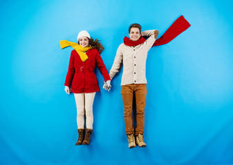 Winter couple blue background
