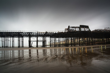 Pier in Hastings after fire, UK.