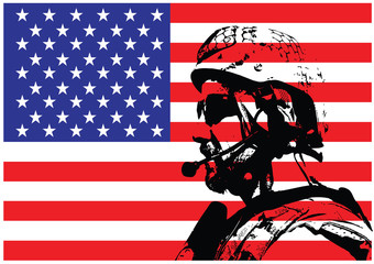 Vector illustration of SEAL warfare operator