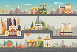 Fototapety Set of buildings in the small business flat design