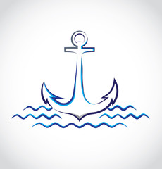 The logo of anchor in the sea waves