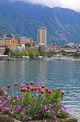 Lake Geneva and view of Montreux, Switzerland.