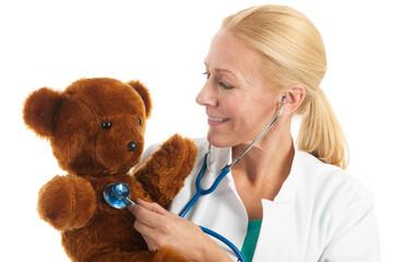 pediatrician with stuffed bear