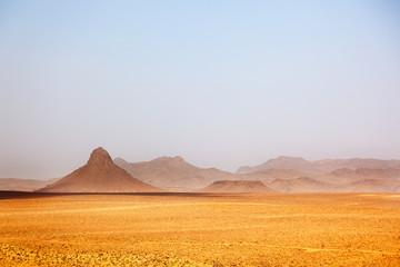 Arid peaks in a desertic landscape. Ouarzazate, Maroc