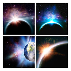 Set of assorted space backgrounds for your design. NASA imagery