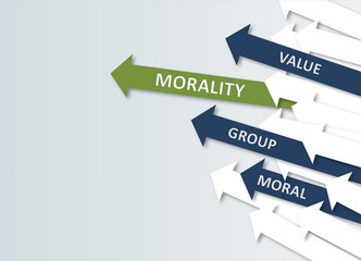 Morality Concept with Green, Blue and White Arrows