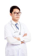 Portrait of Asian male doctor look away