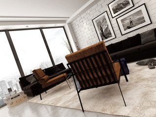 Contemporary urban apartment living room interior