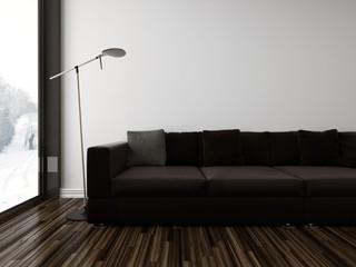 Minimalist sombre living room interior