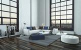 Modern stylish grey and white living room interior