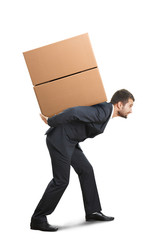 businessman holding boxes