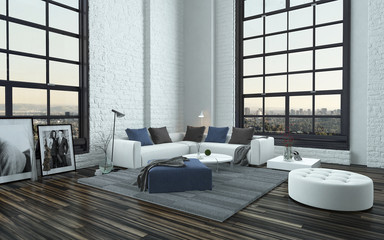 Modern stylish grey and white living room interior