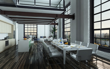 Modern open-plan dining room kitchen interior