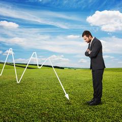 businessman looking at negative graph