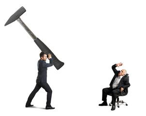 stressed businessman and senior boss