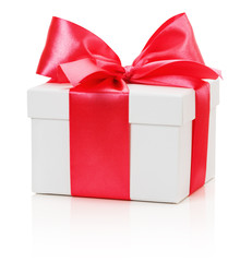 gifting box with red bow isolated on the white background