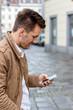 canvas print picture - Mann schreibt SMS