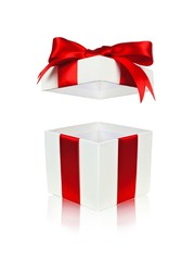 Open red and white gift box with floating lid isolated on white
