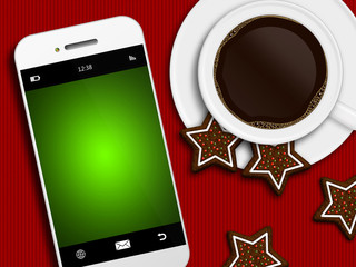 christmas coffee, gingerbread and mobile phone lying on tableclo