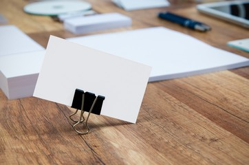 Mockup business template on wooden background
