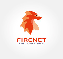 Abstract vector dragon monster logo icon concept. Logotype