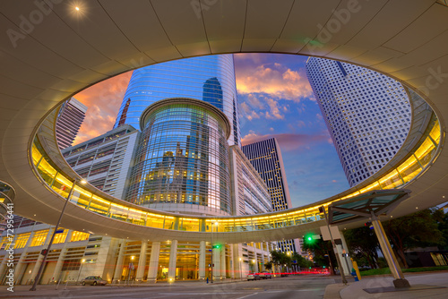 Foto op Canvas Texas Houston Downtown sunset skyscrapers Texas