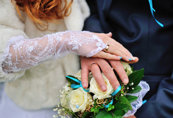 Two hand with wedding ring