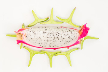 Dragon fruit isolated against in isolated on white background