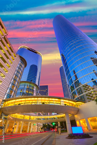 Poster Texas Houston Downtown sunset skyscrapers Texas