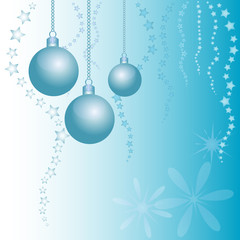 Holiday card with balls for greeting with New Year and Christmas