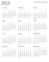 European 2015 year vector calendar.