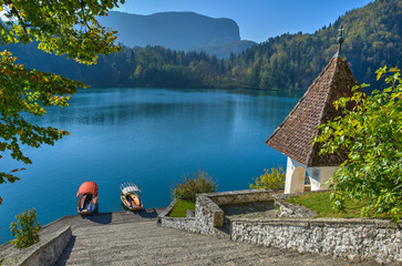 Bled island in autumn morning