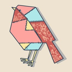 patchwork bird illustration