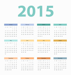 Simple european 2015 year vector calendar, template