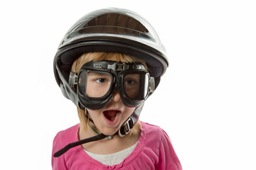 Ready for Anything - Girl with Helmet and Goggles
