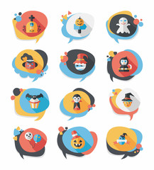 Halloween bubble speech banner design flat background set, eps10