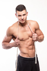 Fitness muscular man with body measure